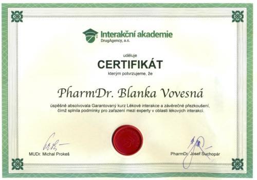 Vovesna Blanka certifikat lekova interakce